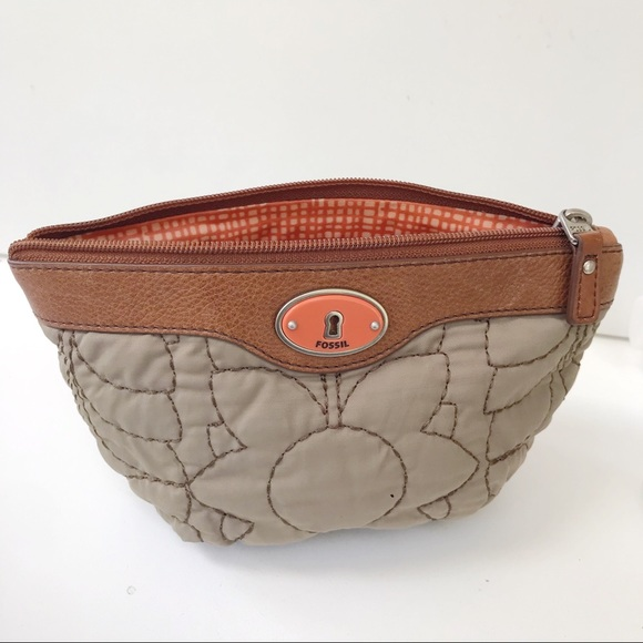 Fossil Handbags - FOSSIL KEY-PER Floral Quilted Cosmetic Case-Tan